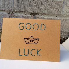 Paper Boat Good Luck  Handmade Embroidered Card