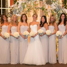 Neutral Bridesmaid Gowns | Amy Rizzuto Photography | TheKnot.com