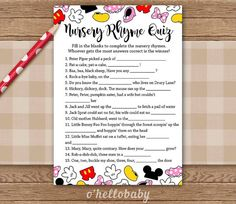 Nursery Rhyme Quiz [1] Disney Theme Baby Shower Games   Baby Boy Baby Girl