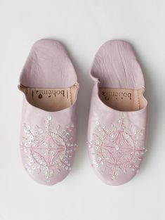 ce20c313f19 Traditional Moroccan Leather Babouche Slide on Slippers in Vintage Pink  with a Sequin and Bead Embellishment