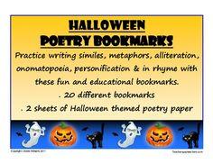 {freebie} Super cute Halloween poetry bookmarks:)