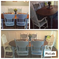 My childhood table redone. Grey and dark stain for the chairs which were my grandmothers.