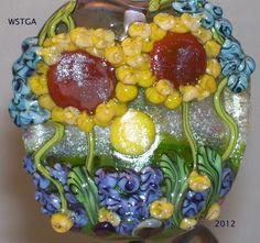 Sunflower Garden handmade lampwork focal bead