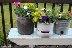 Repurposed Summer Planters via housebyhoff.com