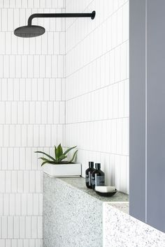 natural light colors for the bathroom. thinking, herringbone white subway tiles and granite/marble - looking shelving