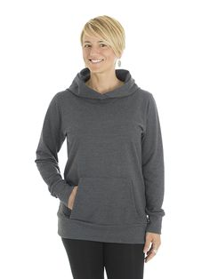 Style #L1H - Women's Hooded Sweater - French Terry  50% Organic Cotton / 50% Recycled Polyester– 10oz Available in Heather Navy – Heather Black – Heather Red – Heather Grey