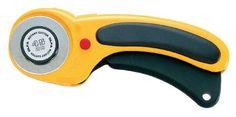 Olfa RTY/DX - Cúter rotativo con cuchilla de 45 mm, botón de bloqueo, y mango…
