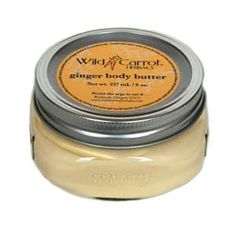 Ginger Body Butter Wild Carrot Herbals This luscious body butter contains ginger infused oil and ginger essential oil. This warming combination is designed to stimulate circulation and nurture dry skin all year round, but is especially warming during the cold wet winter months. Packaged in a reusable glass jar with two piece lid. Contains: water, organic coconut oil, raw shea butter, cocoa butter, organic extra virgin olive oil infused with organic ground ginger, vegetable...