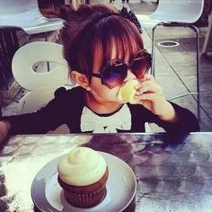 baby with her cupcakes :)