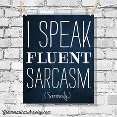 Dorm Decor Typographic Print Sarcasm Poster English Teacher Gifts Editor Funny Classroom Poster Fluent Sarcasm Geekery Grammar Grammatical