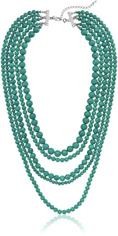 Blue Turquoise Stone 5-Row Multi-Beaded Strand Necklace, 32' 3' Extender -- Want additional info? Click on the image.