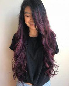 Black Hair These 19 Dark Purple Hair Color Ideas Are Giving Us Hair Envy Dark Purple Highlights on Black Hair Dark Ombre Hair, Dark Purple Hair Color, Blond Ombre, Ombre Hair Color, Hair Color For Black Hair, Cool Hair Color, Dark Violet Hair, Purple Wig, Color Black