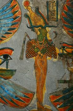 Green-skinned Osiris, from this mummy case at the BM