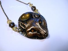 The Golden Wolf yellow & gold polymer clay and resin jewelry pendant necklace handmade One of a Kind by LynzCraftz on Etsy