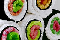 Towels, when rolled up, look like maki sushi!