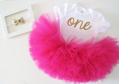 Hot Pink and Gold First Birthday Outfit  Gold by belleNwhistle