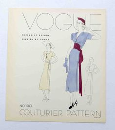 """1930s Vogue Couturier Dress Pattern Style # 503  Display """"Page""""  Dress"""