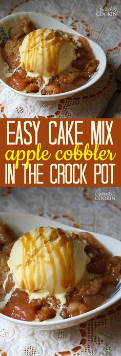Mix Apple Cobbler in the CrockPot Recipe Make cake mix apple cobbler in the crock pot - nobody will guess it started with a boxed mix! cake mix apple cobbler in the crock pot - nobody will guess it started with a boxed mix! Slow Cooker Desserts, Crockpot Deserts, Crockpot Apple Dump Cake, Crock Pot Apple Dessert, Apple Crisp In Crockpot, Crockpot Dessert Recipes, Apple Crisp Crock Pot Recipe, Apple Crisp Recipe With Cake Mix, Rock Crock Recipes