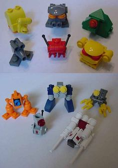 https://flic.kr/p/cSc66L | misc critters | Random bots / creatures / etc.  If I remember correctly, the ones in the bottom image were made using only parts from the first run of SW mini sets.  From Brickshelf.
