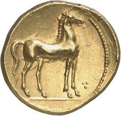 Statere - oro - Cartagine (350-270 a.C.) - verso: cavallo ritto verso dx