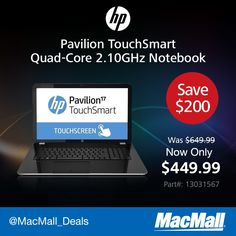 Save $200 on an #HP TouchSmart 2.1GHz quad core notebook with 8GB RAM. #DailyDeal