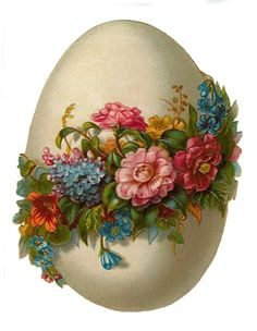 Vintage Easter egg image with flowers