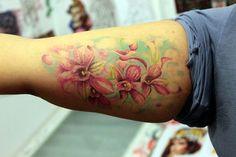 Cool Tattoos, Awesome Tattoos, Watercolor Tattoo, Orchids, Tatting, Pretty, Bobbin Lace, Coolest Tattoo, Needle Tatting