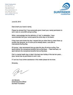 If you don't want to go to work today here is you international surfing day sick note.
