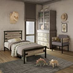AMISCO - Factory Bed (12389-39) - Furniture - Bedroom - Industrial collection - Contemporary - Regular footboard kid bed