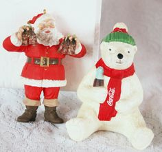 Coca Cola Santa Ornament 1995 And Polar Bear Christmas Light Cover 1998