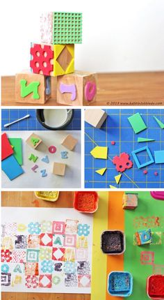 Learn how to make a stamp using fun foam and wood blocks. Easy craft / DIY project for kids! BABBLE DABBLE DO