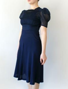1940s Navy Blue Rayon Swing Dress from SweetBeeFinds