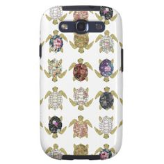 Whimsical turtles with girly floral retro pattern galaxy SIII cases