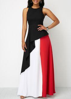 Color Block Split Dress Streetwear Women Casual Clothes O-Neck 2019 Casual Maxi Dresses Sexy Maxi Dress, Maxi Dress With Slit, Sexy Dresses, Evening Dresses, Casual Dresses, Casual Clothes, Sheath Dress, Women's Clothes, Trendy Dresses