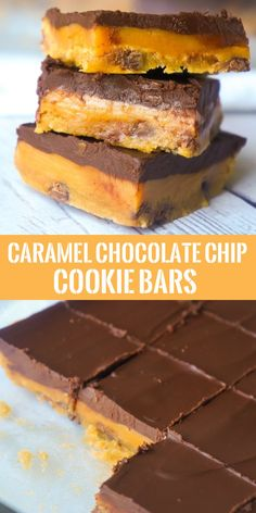 Caramel Chocolate Chip Cookie Bars are an easy dessert recipe using Pillsbury cookie dough. These decadent cookie bars are topped with creamy caramel and a layer of chocolate and are very similar to millionaire bars.