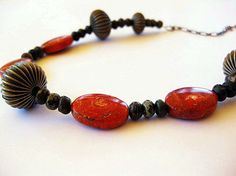 Red Sponge Coral Necklace Statement Orange Gunmetal by MsBsDesigns, $78.00