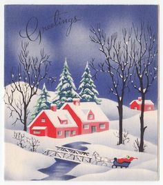 Vintage Greeting Card Christmas Red Houses Snowy Winter Scene Landscape