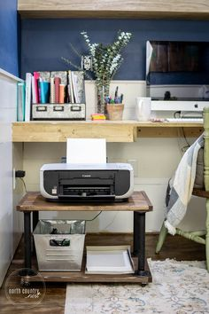Storage is a breeze with this easy-to-make rolling industrial home office printer cart. Tutorial from North Country Nest… – office life Home Office Storage, Home Office Organization, Home Office Design, Home Office Decor, Diy Home Decor, Office Ideas, Under Desk Storage, Office Shelving, Rolling Storage