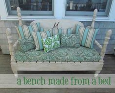 A Bench Made from a Bed!  Great repurpose for this old piece.