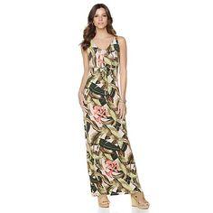 Margaritaville Tropical Print Empire Waist Maxi Dress
