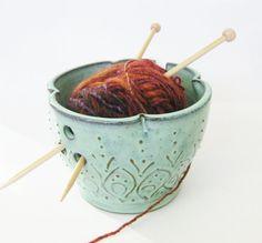 Mediterranean Pottery Yarn Bowl - Aqua Rain Verdigris - OOAK  - Indie Home Decor. $35.00, via Etsy.