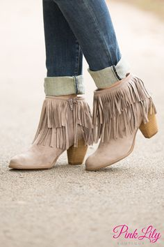 quality design cd23d 7631f The Keira Fringe Booties Taupe - The Pink Lily Shoe Boutique, Boutique  Clothing, Pink
