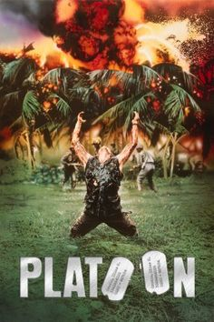 'Platoon' movie poster; still considered one of the greatest war movies ever made.  Oscar winner and there's even a very young Johnny Depp in it....
