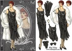 Art Deco Evening Gown Fashion Reflections Decoupage