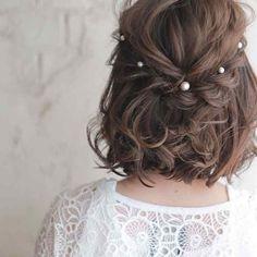 Short Braids, Short Hair Updo, Curly Hair Styles, Wavy Hair, Short Hair Wedding Styles, Wedding Hair For Short Hair, Wedding Hairstyles For Short Hair, Trendy Wedding, Prom Hairstyles For Short Hair