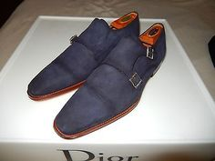 Magnanni  Miro Double Buckle BLUE SUEDE Leather  Apron Toe Loafer