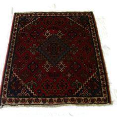 "Persian Oriental Carpet Rug  ""Josan Sarouk"" 1920s 2.1 ft. by 2.5 ft. dark red, blues, light tan, diamond pattern, fringe, mint condition"