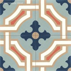 Handmade Monaco Design cement tile by Original Mission Tile - all cement tiles can be customized to create your own according to your project's specs. Victorian Tiles, Encaustic Tile, Concrete Tiles, Handmade Tiles, Classic Collection, Tile Patterns, Stencil Patterns, Tile Design, Motif Design