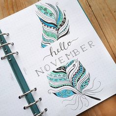 Bullet journal monthly cover page, November cover page, feather drawing. @seras.bullet.journal