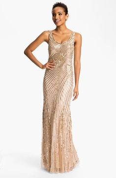 Free shipping and returns on Aidan Mattox Sequin V-Back Mesh Gown (Online Only) at Nordstrom.com. Glistening sequins carve radiating metallic lines across the V-back bodice and rippling skirt of a luminous mesh gown for a touch of old Hollywood glamour.
